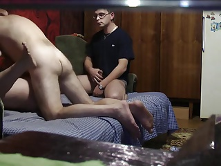 Couple have sex while creepy sponger watches