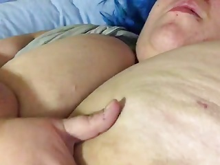 Fat ugly german drab playing with her saggy tits