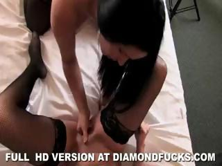 Two brunette lesbians Diamond Kitty and Lola mandate with their toys