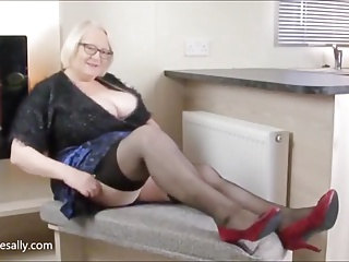 furry top and black stockings