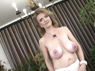 Posh grandma with beamy saggy tits