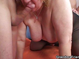 Big jugs old grandma double penetration