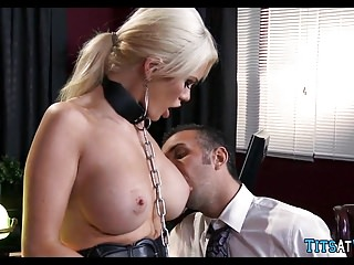 Collared Blonde sex trifle at work