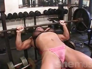 Cissified Bodybuilder Big Tits in the Gym