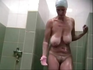 Mature big natural saggy tits spycam shower