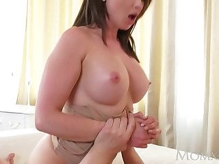 MOM Big breast incomprehensible Aussie Milf takes big cock before squirting orgasm