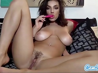 Darcie Dolce brunette big tits masturbation with multiple toys.