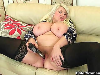 Big titted milf Sam fucks myself with a dildo