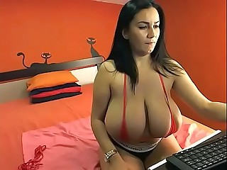 Astonishing huge tits girl on webcam