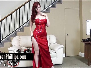 Big Tit redhead Lauren Phillips Plays with her Tight Stained Pussy