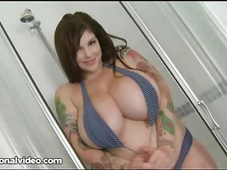 Big Boob Goth Babe Soaps Up Her Huge Juggs In Shower