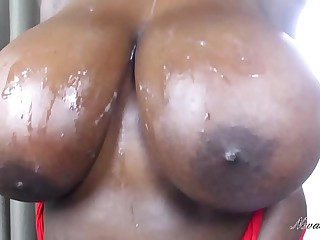 big busty ebony tits get cum almost them