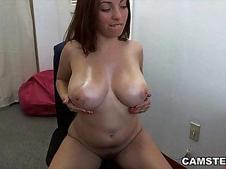 Masturbating on cam with will not hear of big interior out together with legs wide open