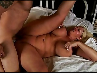 Beautiful big chest blonde old spunker enjoys a sticky facial cumshot