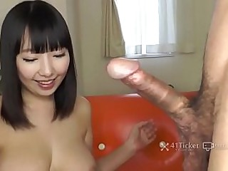 Japanese Girl all over Big Tits and Ass Gives a Blowjob for Cum