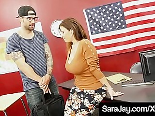 Hot Curvy Teacher Sara Jay, fills her make the beast with two backs holes with a foreign student's eternal cock, milking him until he unloads a huge load of cum with reference to her face & big tits! Full Video & Sara Live @ SaraJay.com!