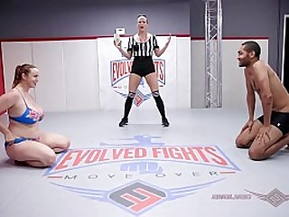 Huge boobs redhead Bella Rossi naked wrestling battle vs Mickey Mod face smothers become absent-minded also-ran