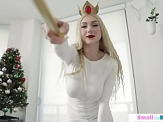 Busty petite mart rammed hard unconnected with a big dude