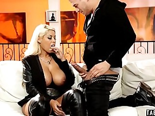 Fat titted wife of a famous rock star fucks her step son