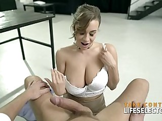 Hot secretary Josephine Jackson with huge beautiful natural tits gets titfucked POV style