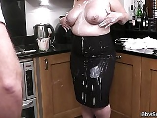 Big boobs woman in glasses rides cheating cock