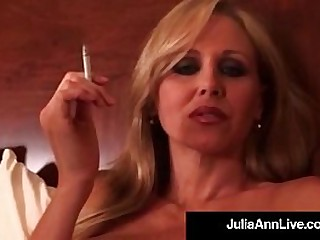 Smokin Hot Milf JuliaAnn puffs on their way cigarette while lying seductively in their way bed, touching their way Busty Breasts & Wet Vagina! Smoker Fetish beware! Full Video & Julia Ann Live @JuliaAnnLive.com