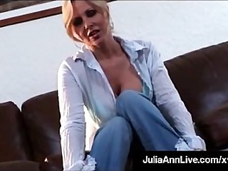Busty Blonde Milf Julia Ann strips out of her hot tight jeans & bangs her juicy wet cunt on every side a glass dildo until she cums on film! Full Video & Julia Ann Live @ JuliaAnnLive.com!