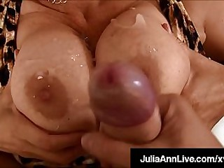 Big Titty Mommy Julia Ann takes a warm load of cum heavens her huge tits after sucking, stroking & milking a lucky throbbing cock! Full Video & Julia Ann Live @ JuliaAnnLive.com!