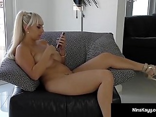 Silver Haired Nina Kayy gets major Horny when she starts Sexting with a Dude! Her Pussy is wet & juicy as she stuffs it with a Purple Dildo until she Creams! Full Integument & Stay @NinaKayy.com!