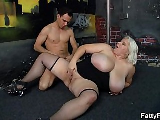 He bangs brawny boobs blonde in stockings