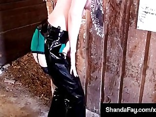 Horny Housewife, Shanda Fay, grinds her Pony in PVC Chaps! Mounting her animal she rides Rodeo Style until her stud jets his hot load on this Cowgirl! Lay eyes on the Full Video @ her Continue @ ShandaFay.com!