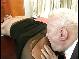 Creepy Old Man Rips Her Nylons And Fucks Her Ass